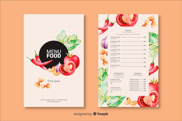 Handgezeichnete essen menüvorlage Kostenlosen Vektoren