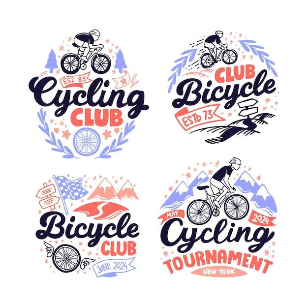 Handgezeichnete fahrradlogo-sammlung Kostenlosen Vektoren