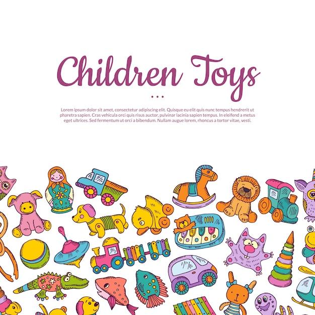Handgezeichnete farbige kinder oder kind spielzeug karte mit platz für text Premium Vektoren