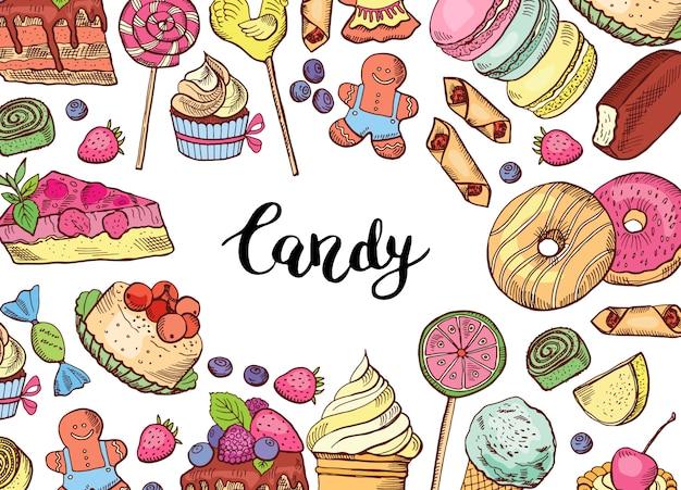 Handgezeichnete farbige süßigkeiten banner Premium Vektoren