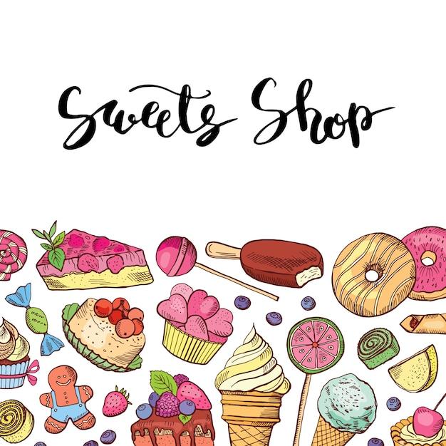 Handgezeichnete farbige süßigkeiten shop oder süßwaren Premium Vektoren
