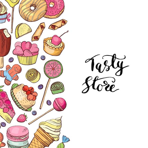Handgezeichnete farbige süßwaren-shop oder süßwaren-banner Premium Vektoren