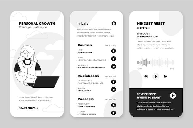 Handgezeichnete farblose apps-sammlung für smartphones Kostenlosen Vektoren