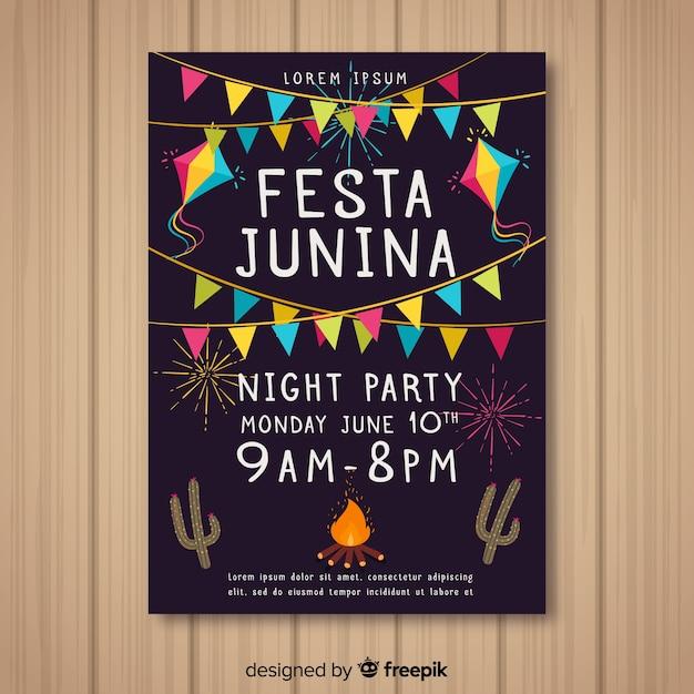 Handgezeichnete festa junina flyer vorlage Kostenlosen Vektoren