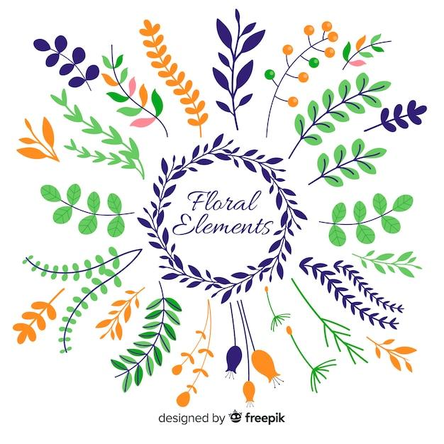 Handgezeichnete florale ornamentale elemente Kostenlosen Vektoren