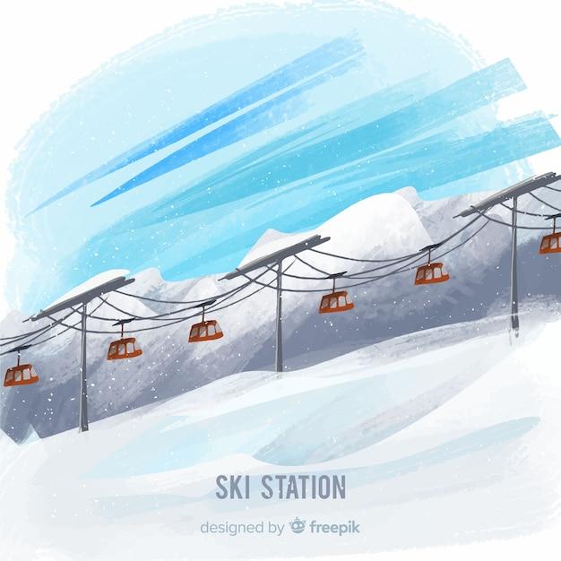 Handgezeichnete funikuläre winterlandschaft Kostenlosen Vektoren