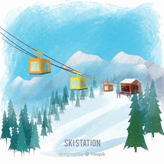 handgezeichnete funikuläre winterlandschaft  kostenlose