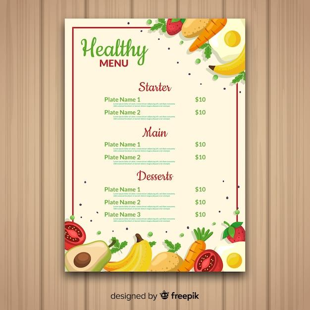 Handgezeichnete gesunde menüvorlage Kostenlosen Vektoren