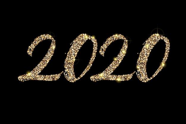 Handgezeichnete goldene glitzer-beschriftung 2020 Premium Vektoren