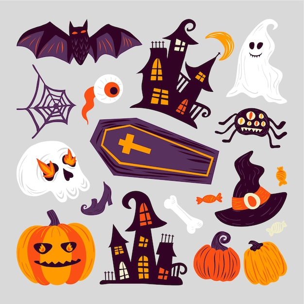 Handgezeichnete halloween-elementsammlung Kostenlosen Vektoren