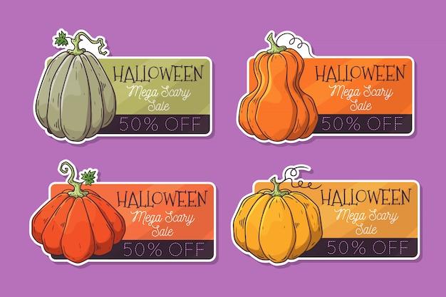 Handgezeichnete halloween-etiketten mit kürbissen. Premium Vektoren