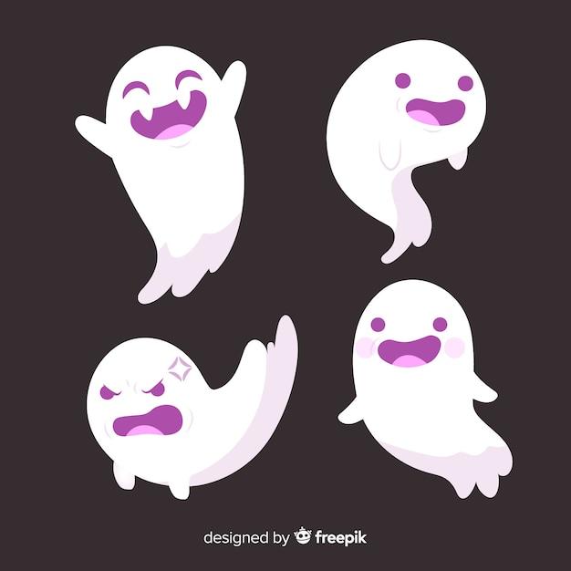 Handgezeichnete halloween ghost collection Kostenlosen Vektoren