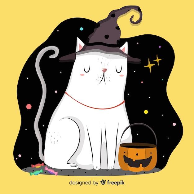 Handgezeichnete halloween-katze in einer sternenklaren nacht Kostenlosen Vektoren