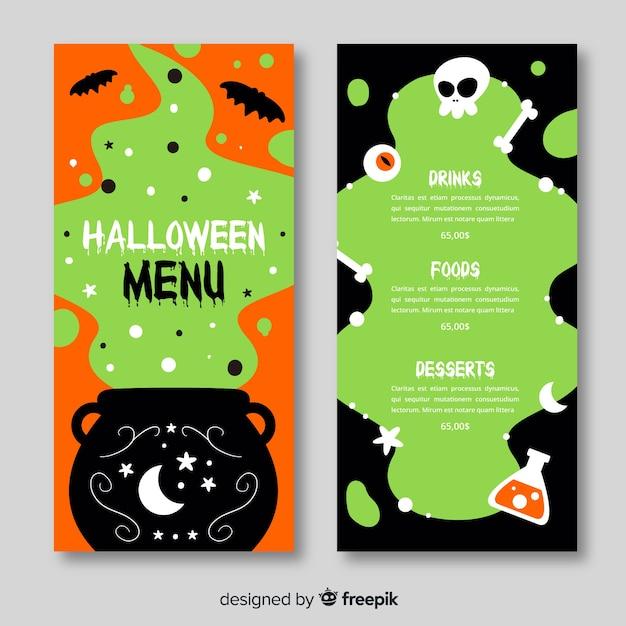 Handgezeichnete halloween-menü Kostenlosen Vektoren