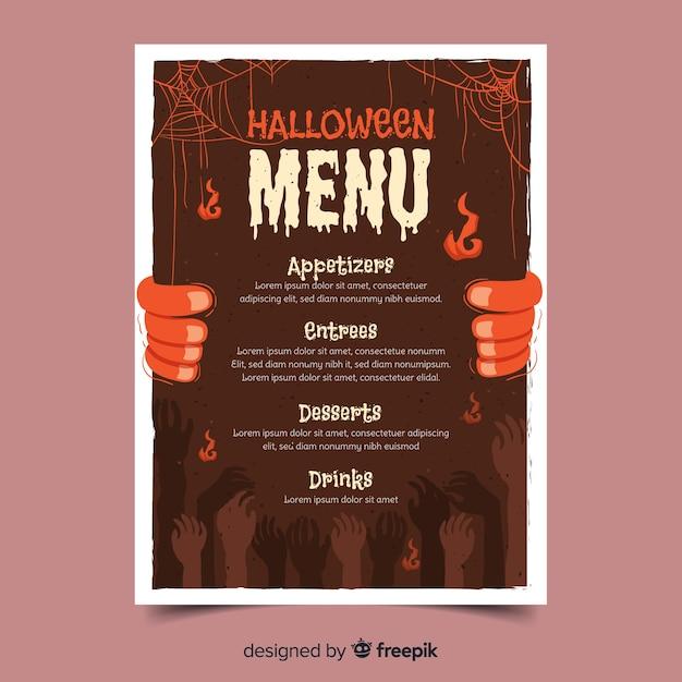 Handgezeichnete halloween-menüvorlage Kostenlosen Vektoren
