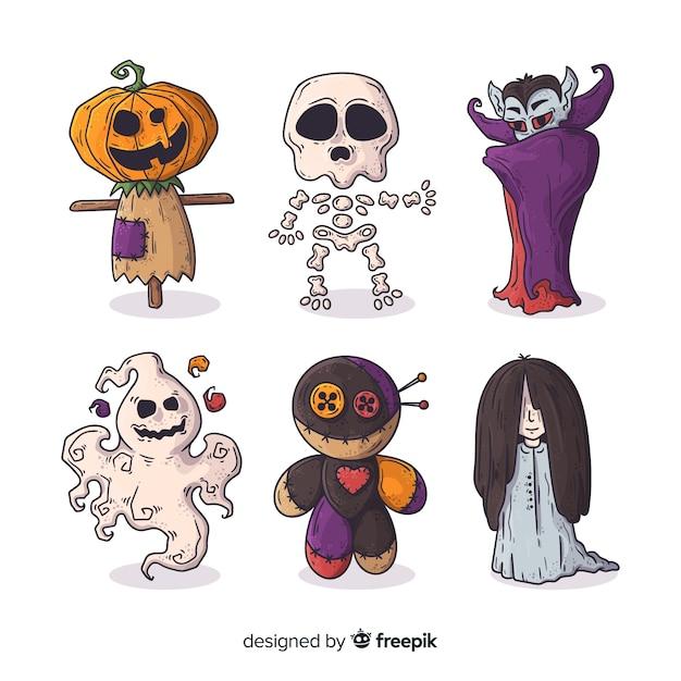 Handgezeichnete halloween monster charakter sammlung Kostenlosen Vektoren