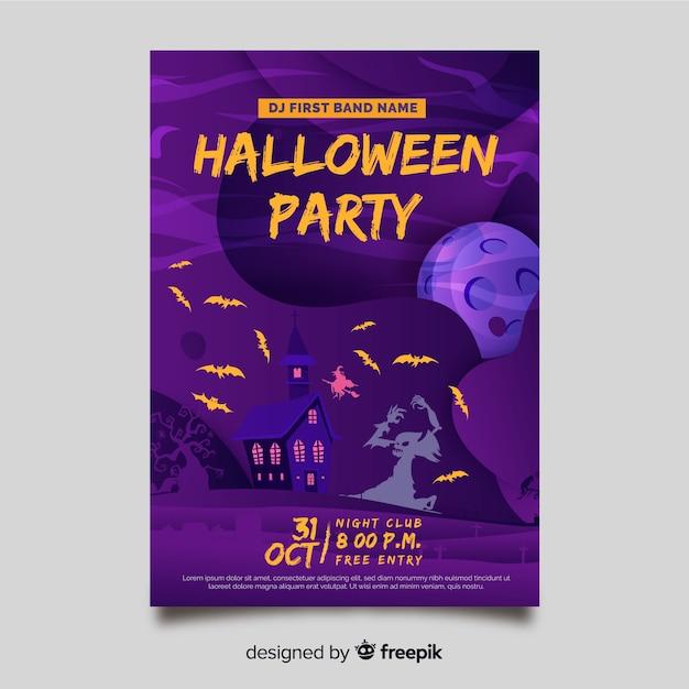 Handgezeichnete halloween party flyer vorlage Kostenlosen Vektoren