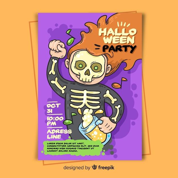 Handgezeichnete halloween party plakat vorlage Kostenlosen Vektoren