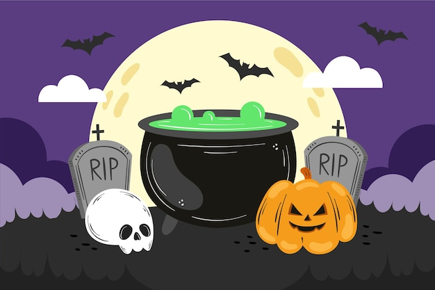 Handgezeichnete halloween-tapete Kostenlosen Vektoren
