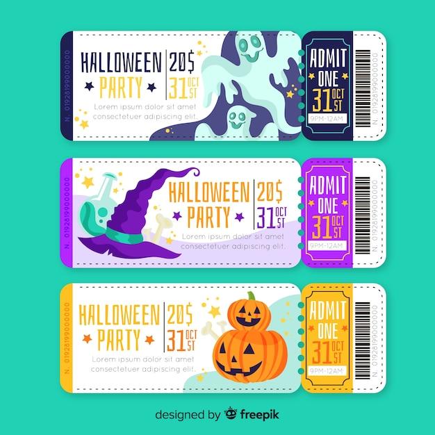 Handgezeichnete halloween-tickets Kostenlosen Vektoren