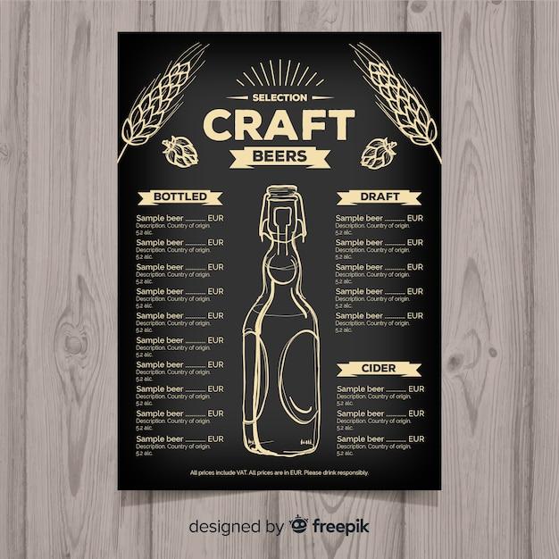 Handgezeichnete handwerk bier menüvorlage Kostenlosen Vektoren