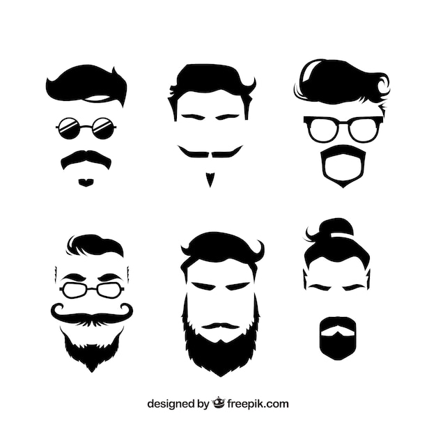 Handgezeichnete hipster schnurrbart-sammlung Kostenlosen Vektoren