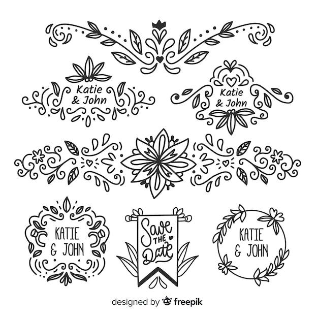 Handgezeichnete hochzeit ornamente sammlung Kostenlosen Vektoren