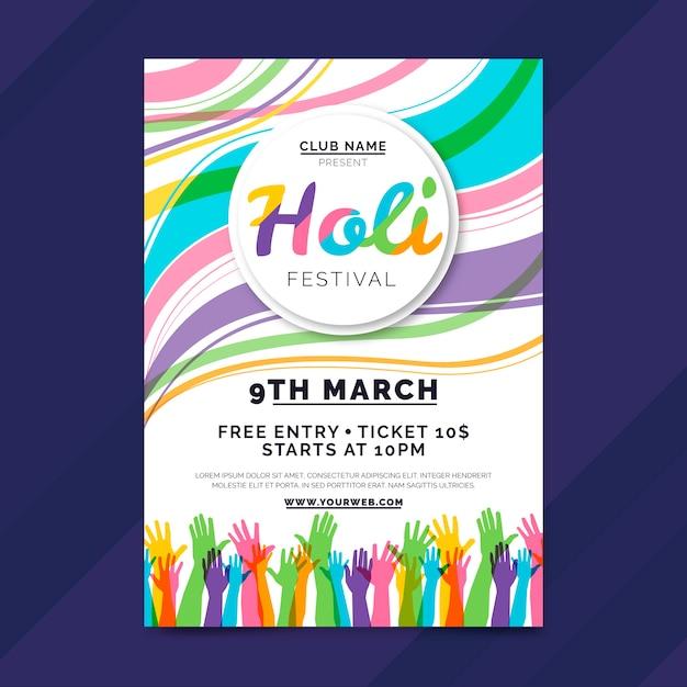 Handgezeichnete holi festival flyer vorlage Kostenlosen Vektoren