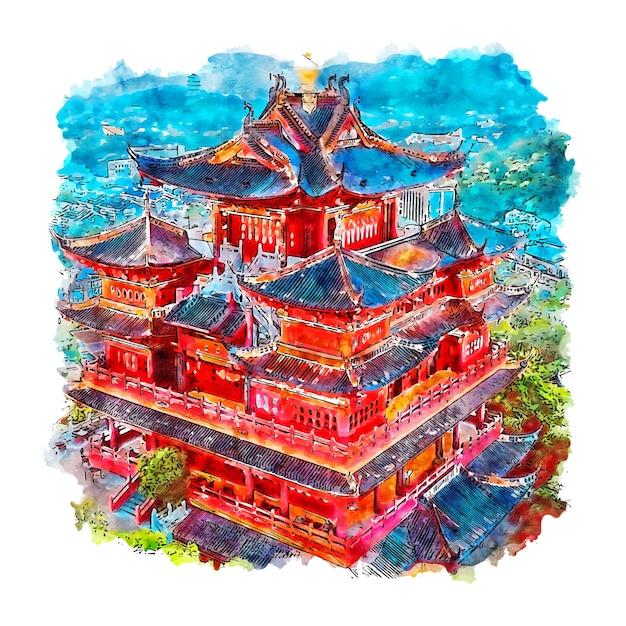Handgezeichnete illustration der hangzhou china aquarell-skizze Premium Vektoren