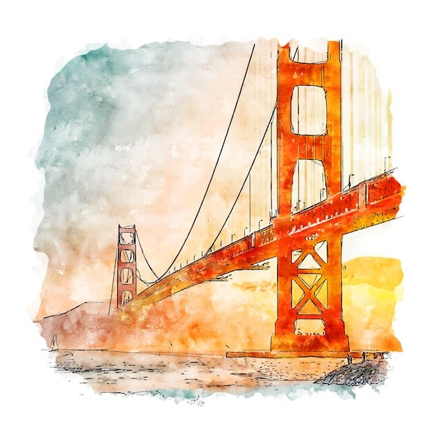 Handgezeichnete illustration der san francisco california aquarell-skizze Premium Vektoren