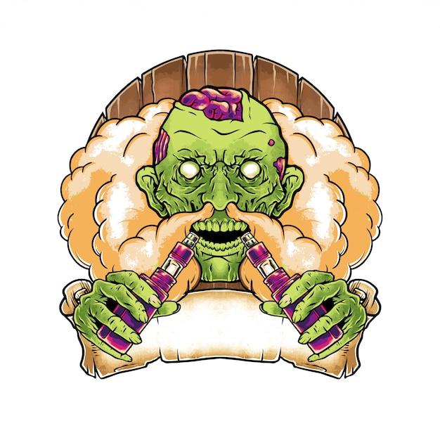 Handgezeichnete illustration zombie vape Premium Vektoren