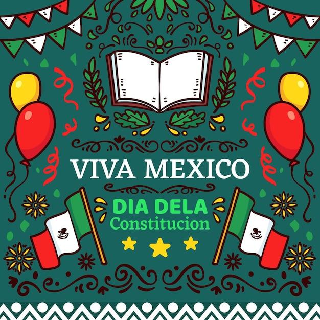 Handgezeichnete illustrationen des mexiko-verfassungstages Kostenlosen Vektoren