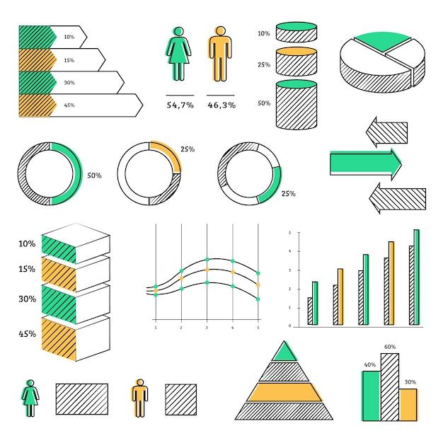 Handgezeichnete infographik elementsatz Kostenlosen Vektoren