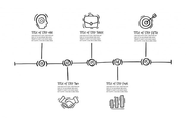 Handgezeichnete infographik schritte Premium Vektoren