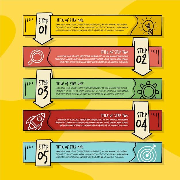 Handgezeichnete infographik schritte Kostenlosen Vektoren