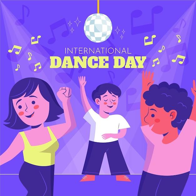 Handgezeichnete internationale tanztagillustration mit leuten Premium Vektoren