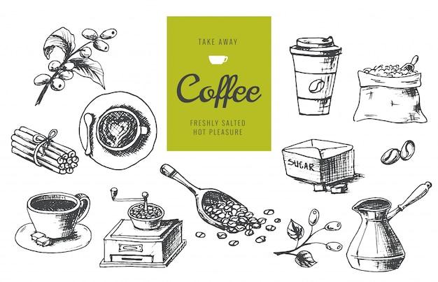 Handgezeichnete kaffee illustrationen Premium Vektoren