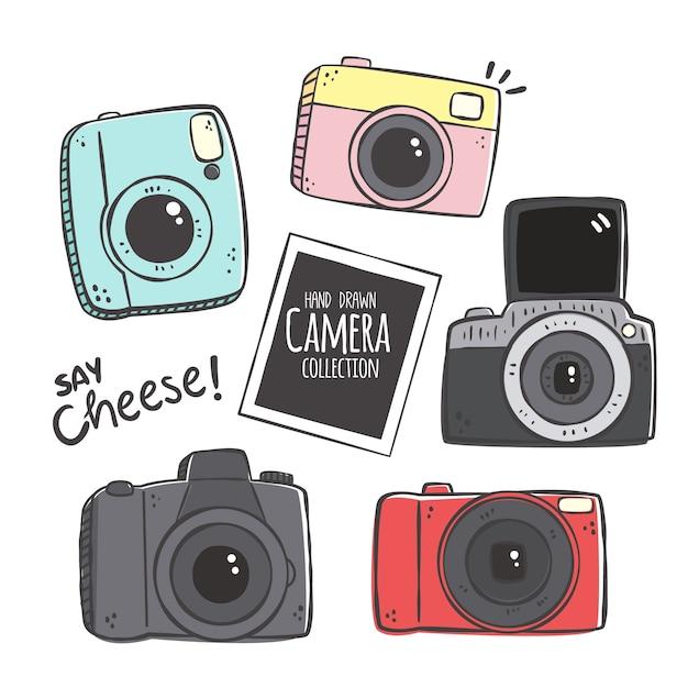 Handgezeichnete kamera-sammlung Kostenlosen Vektoren