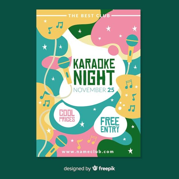 Handgezeichnete karaoke nacht plakat vorlage Kostenlosen Vektoren