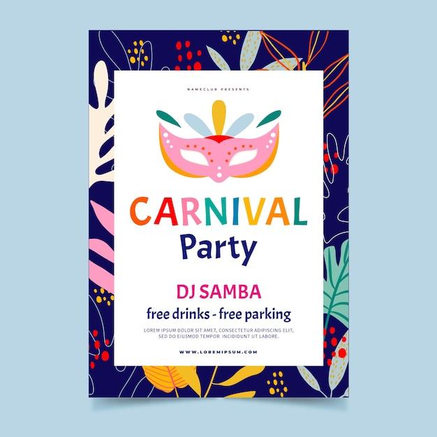 Handgezeichnete karneval party flyer Kostenlosen Vektoren