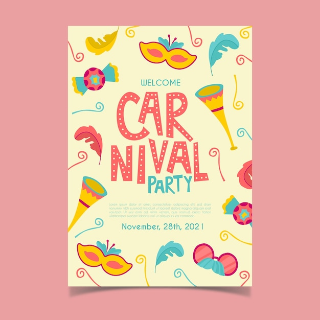 Handgezeichnete karneval party poster Kostenlosen Vektoren
