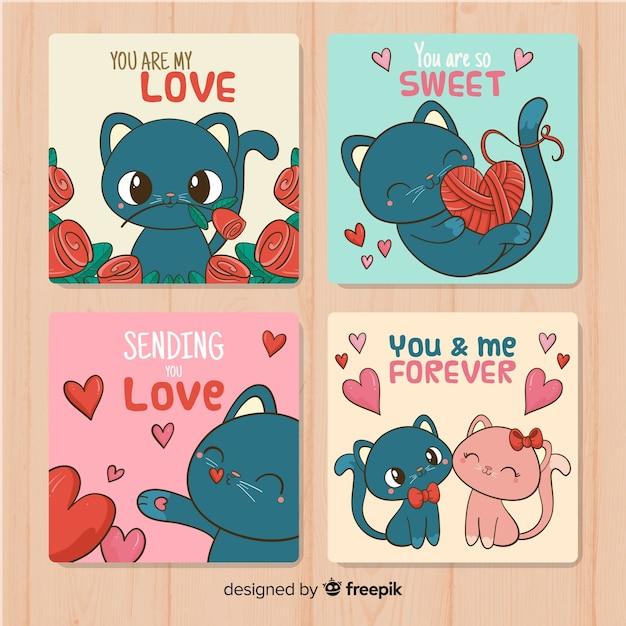 Handgezeichnete katze valentinstag kartenset Kostenlosen Vektoren