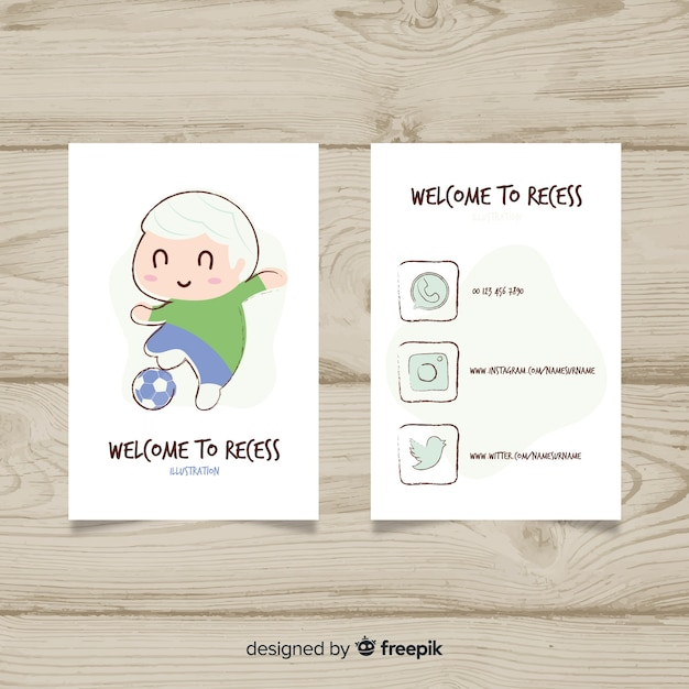 Handgezeichnete kawaii charakter visitenkarte vorlage Kostenlosen Vektoren