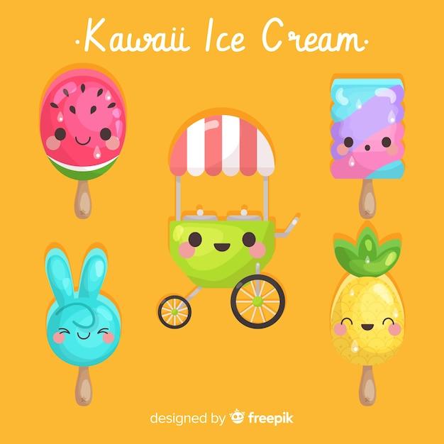 Handgezeichnete kawaii eis sammlung Kostenlosen Vektoren