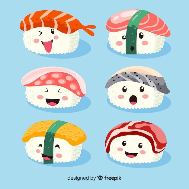 Handgezeichnete kawaii lächelnd sushi-kollektion Kostenlosen Vektoren