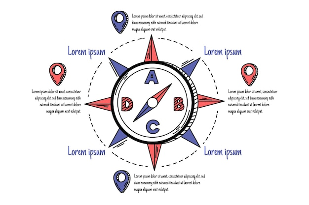 Handgezeichnete kompass-infografiken Kostenlosen Vektoren