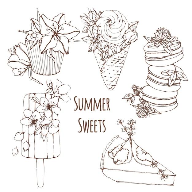 Handgezeichnete kontur sommer desserts mit blumen Premium Vektoren