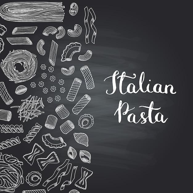 Handgezeichnete konturierte pasta-typen auf tafel mit schriftzug Premium Vektoren