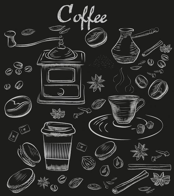 Handgezeichnete kreide-kaffee-sammlung Premium Vektoren