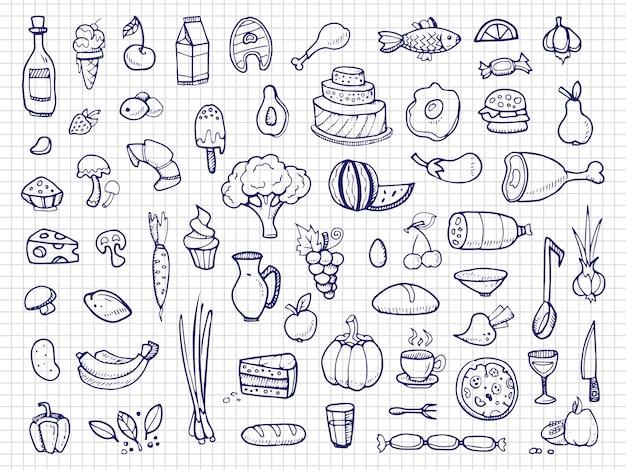 Handgezeichnete lebensmittel, gemüse, getränke, snacks, fast-food-doodle Premium Vektoren